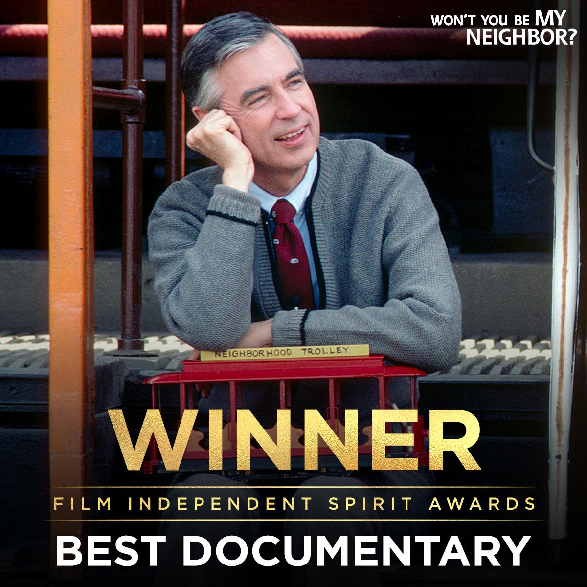 CONGRATS to the #MrRogersMovie team on their @filmindependent #SpiritAwards WIN for Best Documentary! 🏆