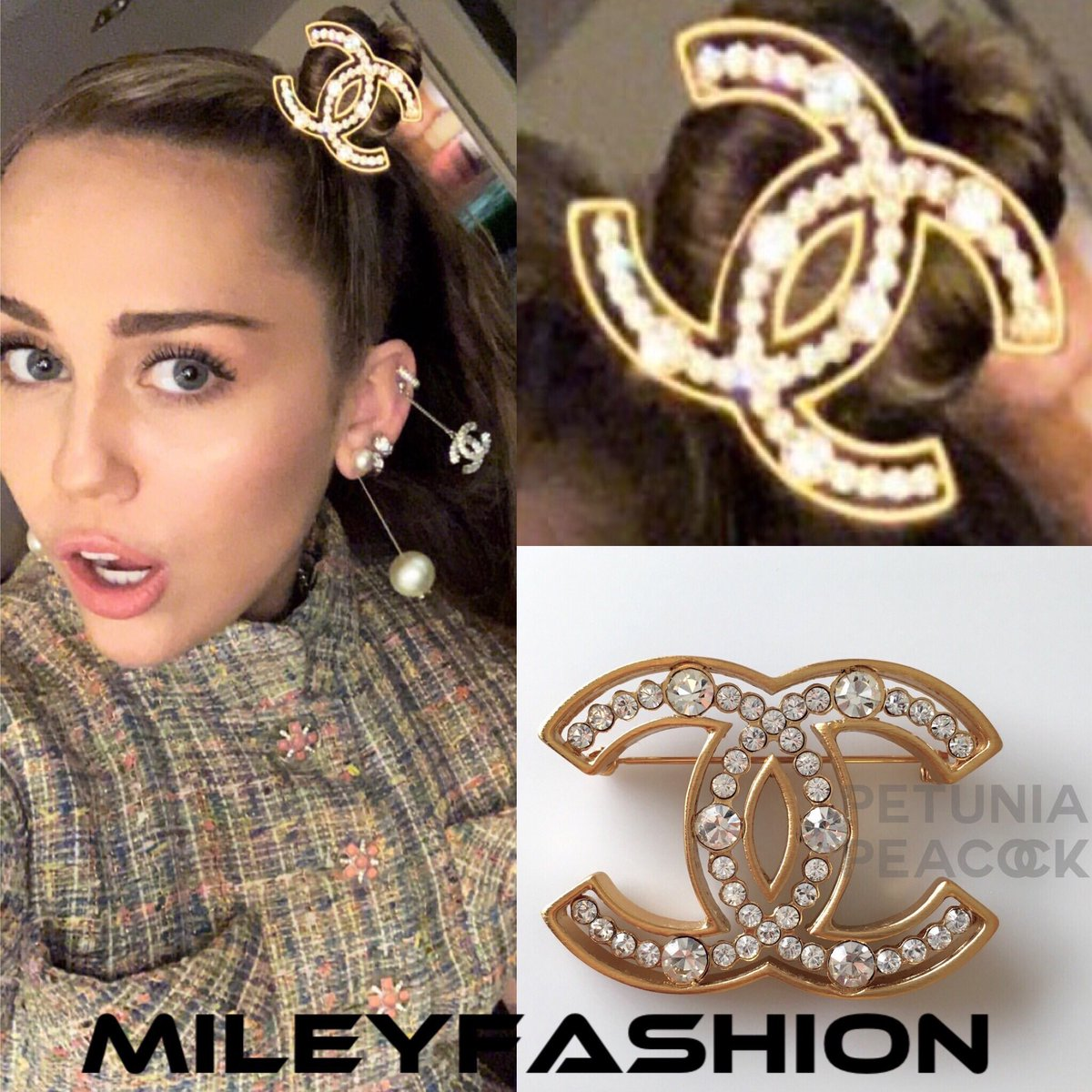 Miley Cyrus Fashion On Twitter Style Guide Mileycyrus Wore A Chanel Cc Logo Gold Crystal Embellished Brooch As A Hair Accessory In A Photo That She Posted On Her Insta Stories Tonight