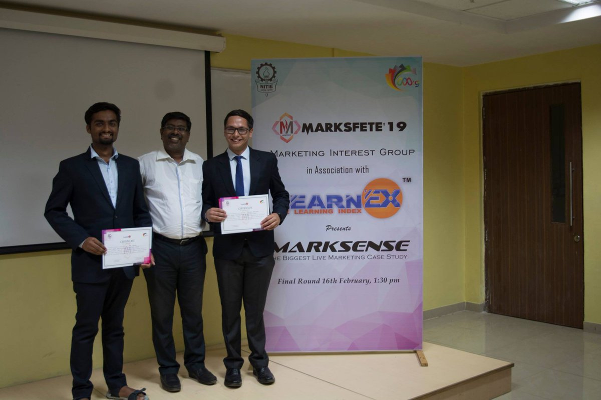 On Saturday, 16th of February 2019, Marksense-live marketing case study competition organised by MARKETING INTEREST GROUP in association with LearnEX has officially ended Winners of MARKSENSE'19 is Team Achilles @IIM_I  #marksfete #thelearningindex #mig #nitie https://t.co/bVCH057JsR