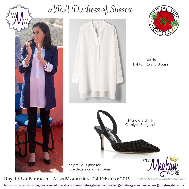 What Meghan Wore On Twitter A Fashion Recap For Today In Morocco Manoloblahnik Aliceandolivia Aritzia Illesteva Birdiesslippers Royalvisitmorocco Https