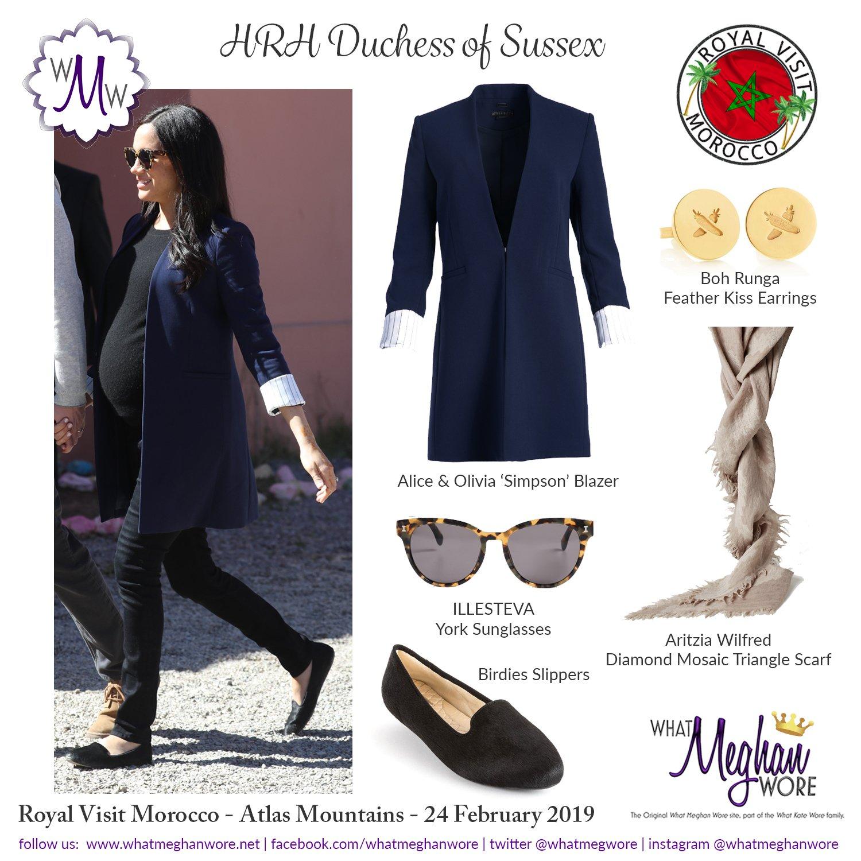 What Meghan Wore Twitterissa A Fashion Recap For Today In Morocco Manoloblahnik Aliceandolivia Aritzia Illesteva Birdiesslippers Royalvisitmorocco Https