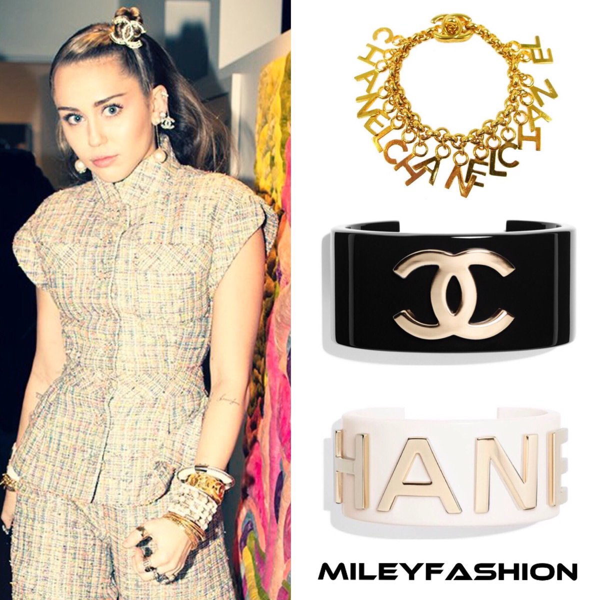 Miley Cyrus Fashion A Twitter Style Guide Mileycyrus Attended Chanel S Pre Oscars Dinner In Beverly Hills Last Night Wearing An Assorted Variety Of Jewelry By Chanel Including Vintage Chanel Interlock Charm Bracelet