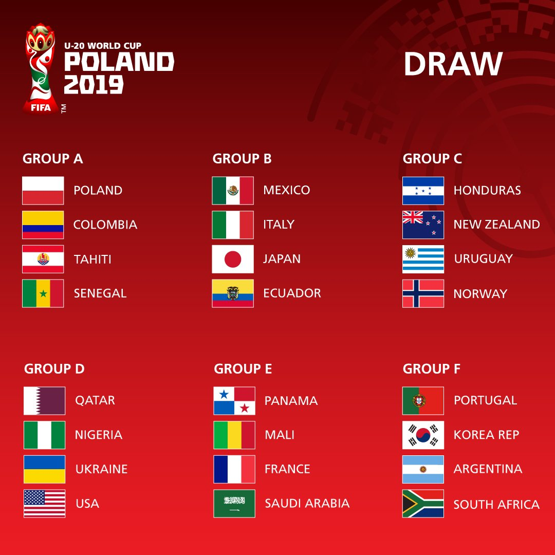 🔜🇵🇱🏆 We have our #U20WC Poland 2019 groups 🙌  What do you think is the toughest group? 🤔