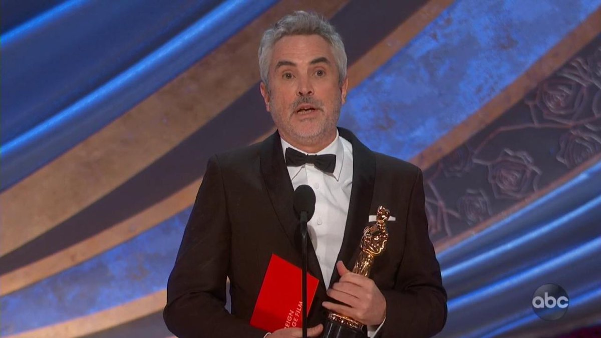 "Roma wins Best Foreign Language film at the #oscars. Director @alfonsocuaron: ""The nominees tonight prove that we are part of the same ocean"" http://thr.cm/sApDLl"
