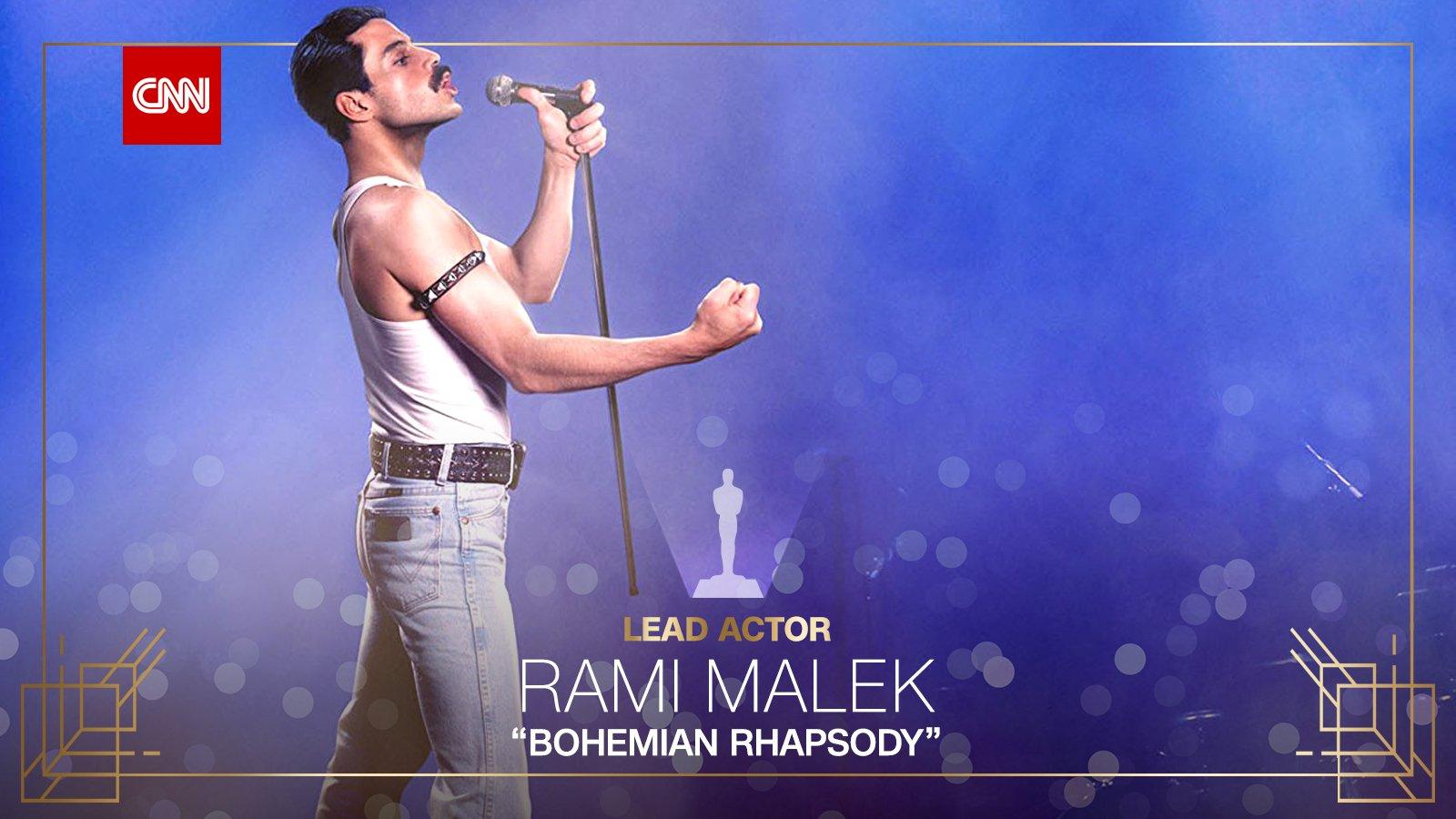 """Rami Malek wins best actor in a leading role for """"Bohemian Rhapsody"""" #Oscars https://t.co/HMvEwWDGqo https://t.co/JZHO4o5rY5"""