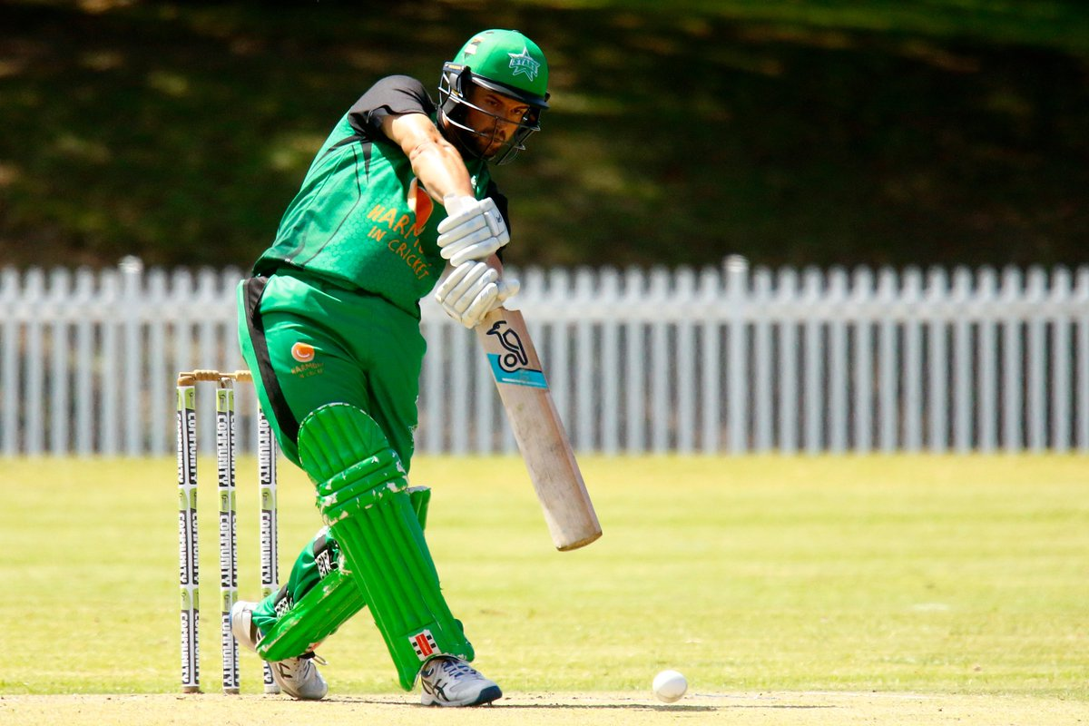 Midway through our #MulticuturalT20 clash against @ThunderBBL and we have posted 8/128, with captain James Nanopolous top scoring with 52. #TeamGreen