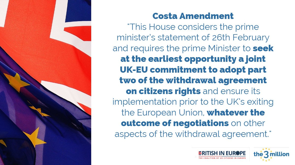 People must not be used as a negotiating #BargainingChip. EU citizens in the UK & @BritishInEurope must not become collateral damage of an accidental no-deal Brexit. Please tell your MP to support the Costa Amendment this week.