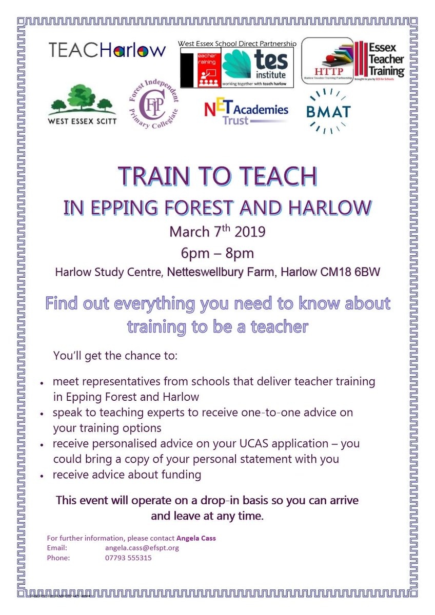 Train to Teach event 7th March 6pm - 8pm. Harlow Study Centre. Join us to start your career in teaching.