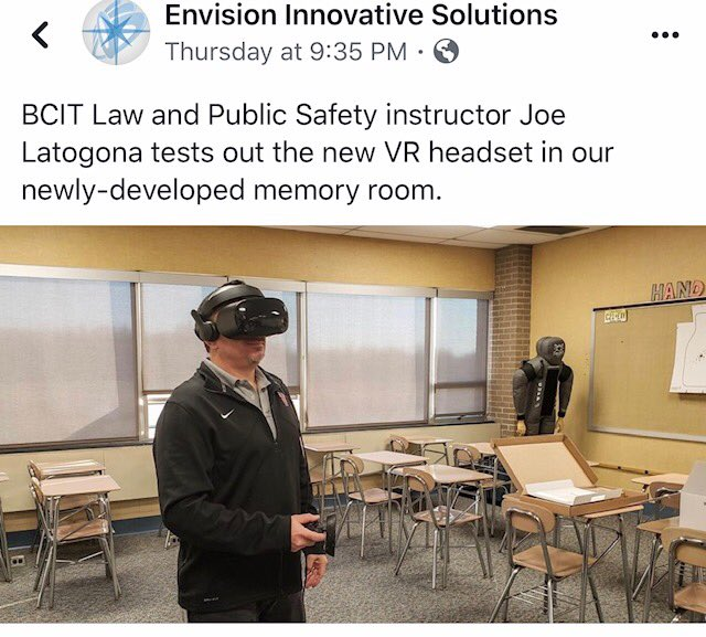 Law and Public Safety Instructor Joe Latigona testing out his new Virtual Reality equipment.