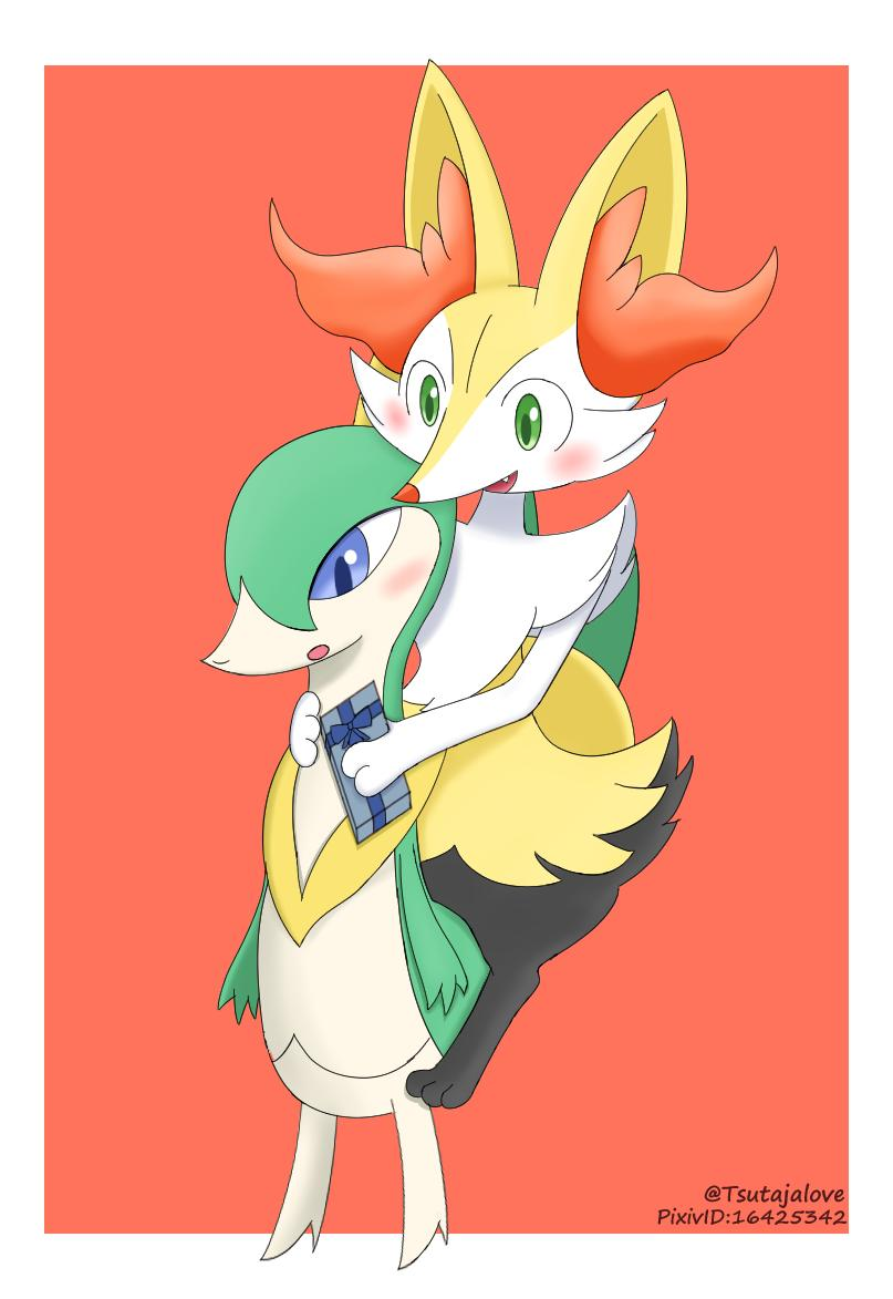[ Partner I have something for you ] [ What? ] [ Tada,Happy Valentine Day ] [ It really for me?! ]  [ Yup,This gift for my best partner] [ *Blush*] [ Don't Worry That While Chocolate You like best !] [ Errr... Thanks ] #ValentineDay #Servine #Braixen #Pokemon<br>http://pic.twitter.com/fcgRqzd633