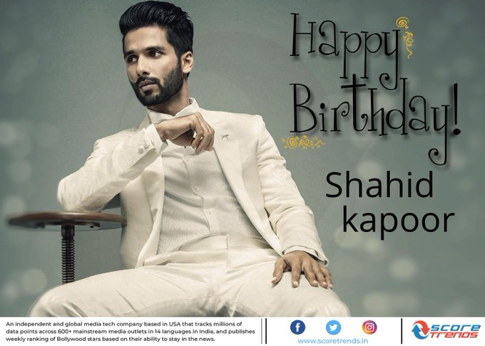 Score Trends wishes Shahid Kapoor a Happy Birthday!!