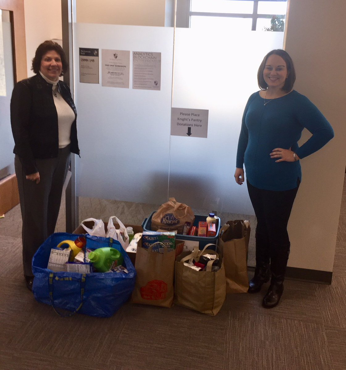 Two weeks ago we learned about Knights Pantry, a food pantry for students who need it here at Bellarmine. The Rubel School of Business rallied, and today we were able to donate a whole pile of goods! #weloveourstudents #GoKnights #helpinghand