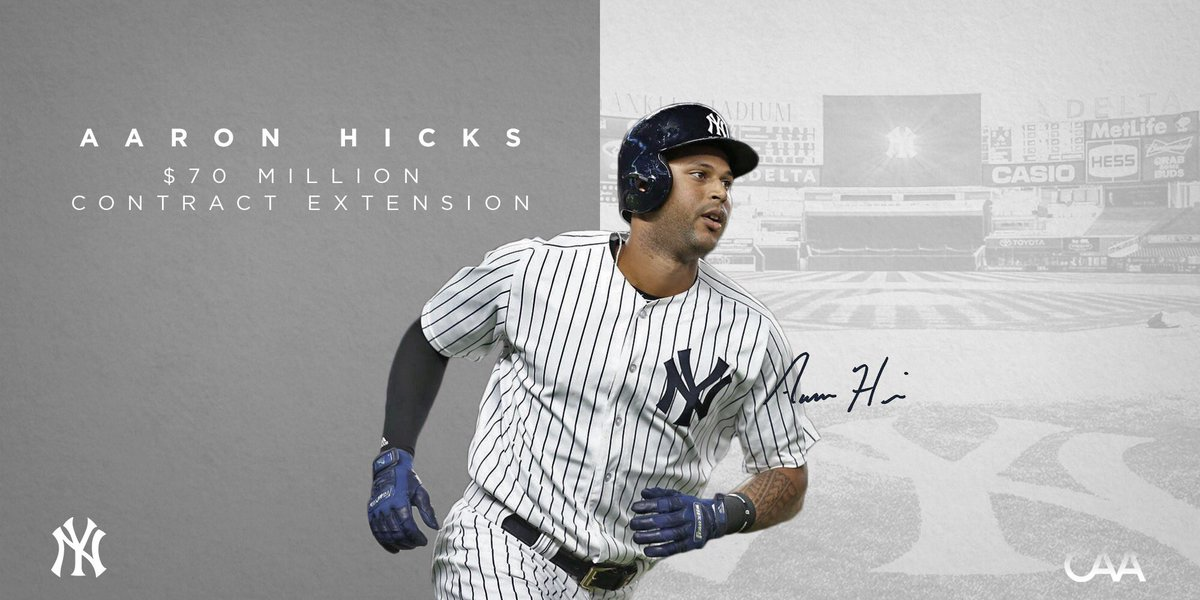 7760bc2121089b Congratulations to the  Yankees  AaronHicks31 on his seven-year deal! Only  three other players in MLB are signed through 2025.pic.twitter .com Ttxb4xUItx