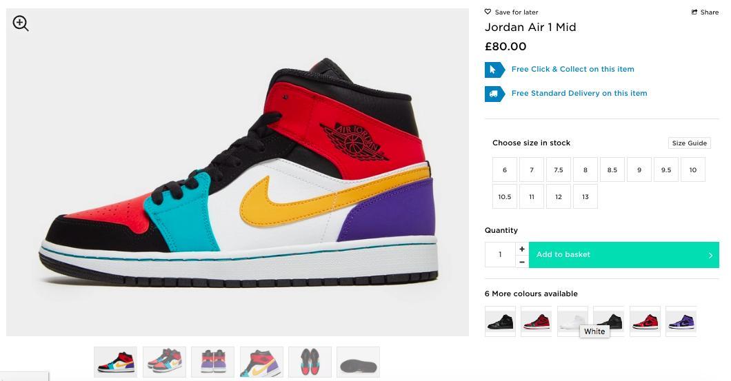 LIVE via JD Sports Air Jordan 1 Mid  Multicolor     http   5e77bc462