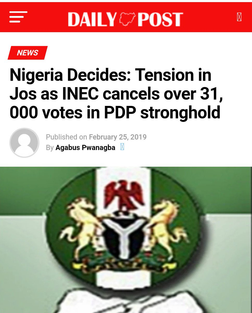 From Lagos, Rivers, Nasarawa and now Plateau, the APC in collaboration with @inecnigeria are canceling votes in PDP strongholds.  Nigerians will not accept this! WE WILL NOT TAKE IT. And this time we mean business!   #BuhariMustGo #NigeriaDecides2019   @USEmbassyAbuja @UKinNigeria<br>http://pic.twitter.com/cI7YX1zt4Y