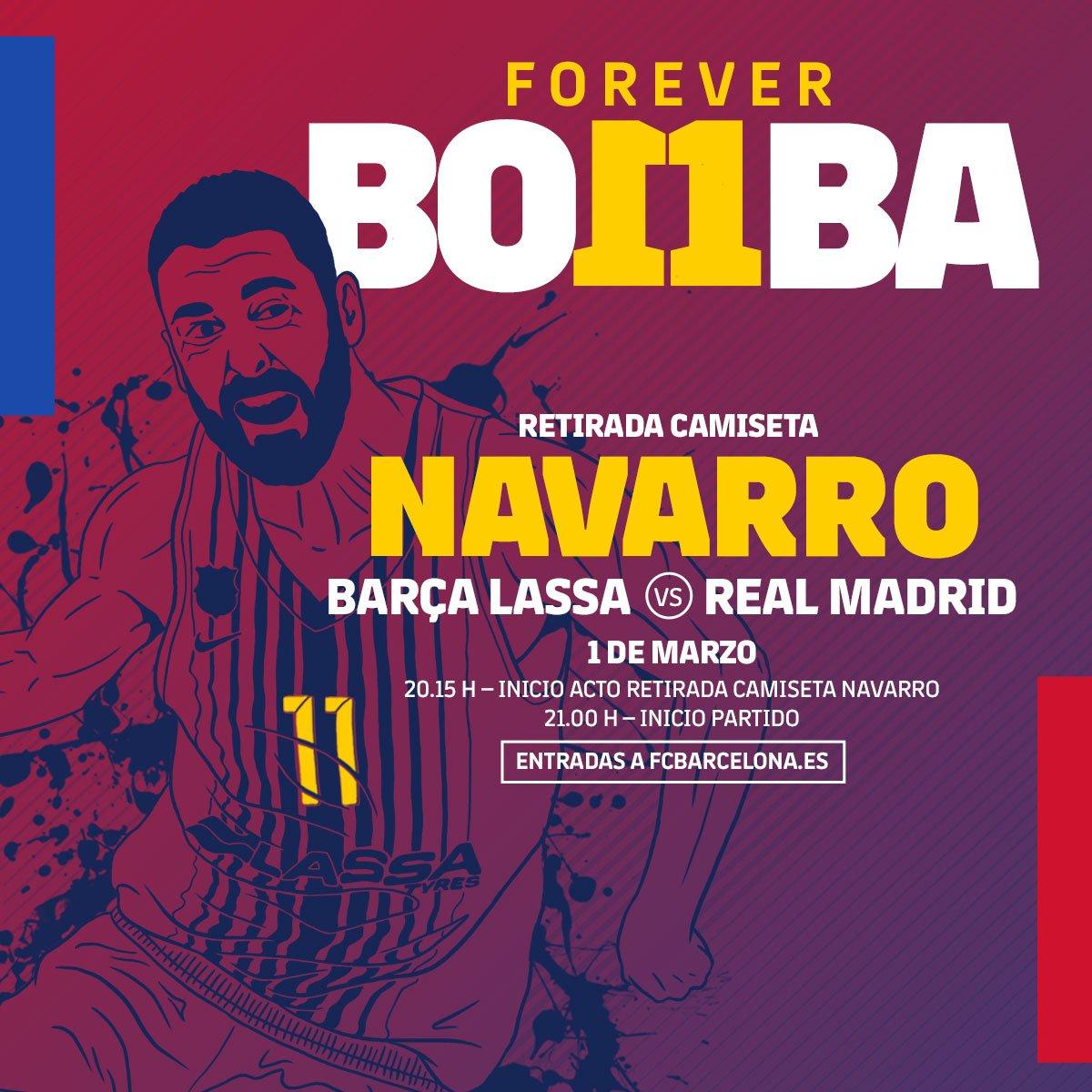 📆 Este viernes jugamos a las 21h vs @RMBaloncesto en el Palau  🏀🔝 No te pierdas el acto de la retirada de la camiseta de Juan Carlos Navarro a partir de las 20:15h. Apertura de puertas a las 19:30h   🔵🔴 #ForçaBarça!
