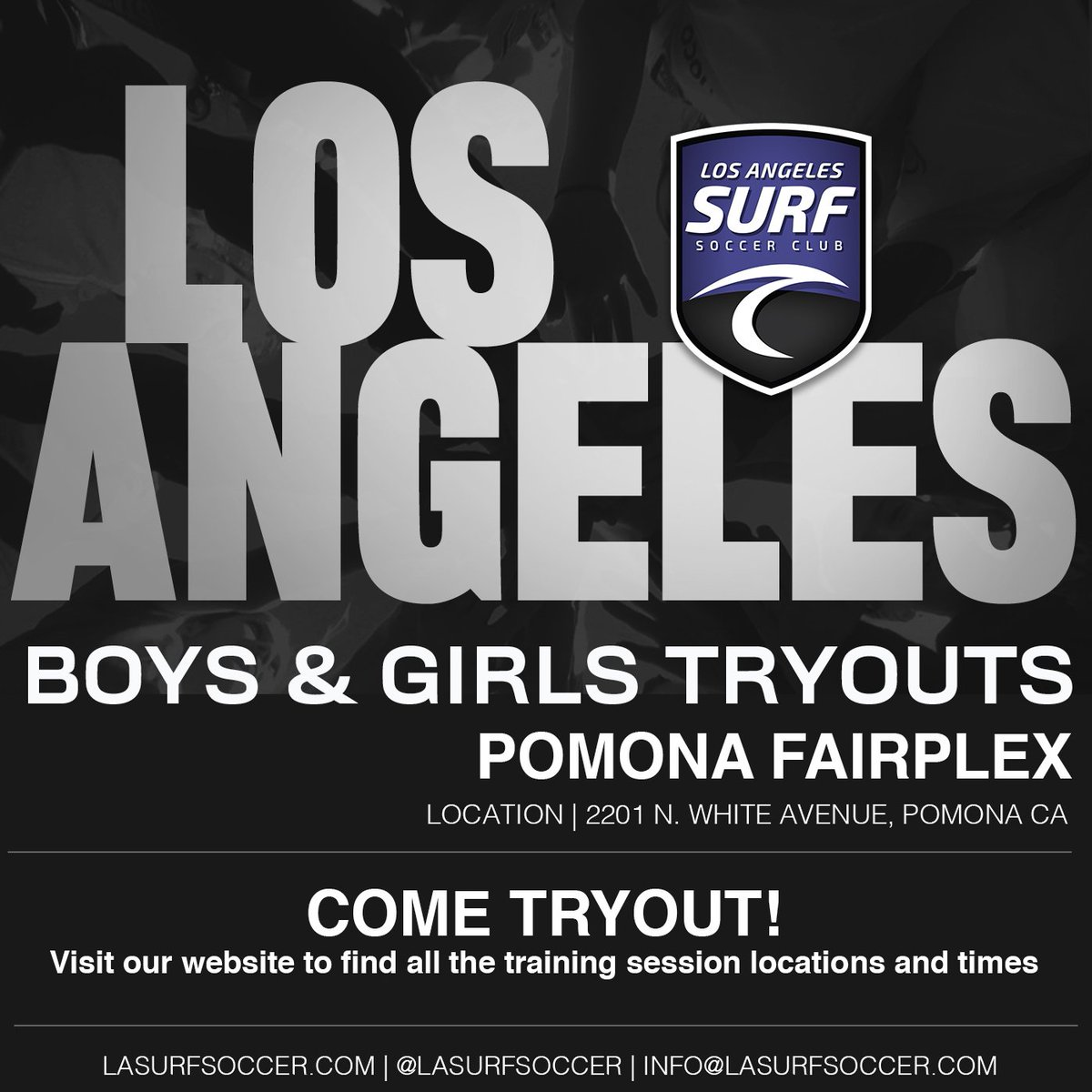 LA SURF   TRYOUTS Come join our tryouts tonight! Visit our website for all times and locations. http://Lasurfsoccer.com/tryouts Follow us on social media @lasurfsoccer for the latest updates. #tryouts #lasurfsoccer #soltilo #pomona #fairplex #sanmarino #pasadena #covina #westcovina
