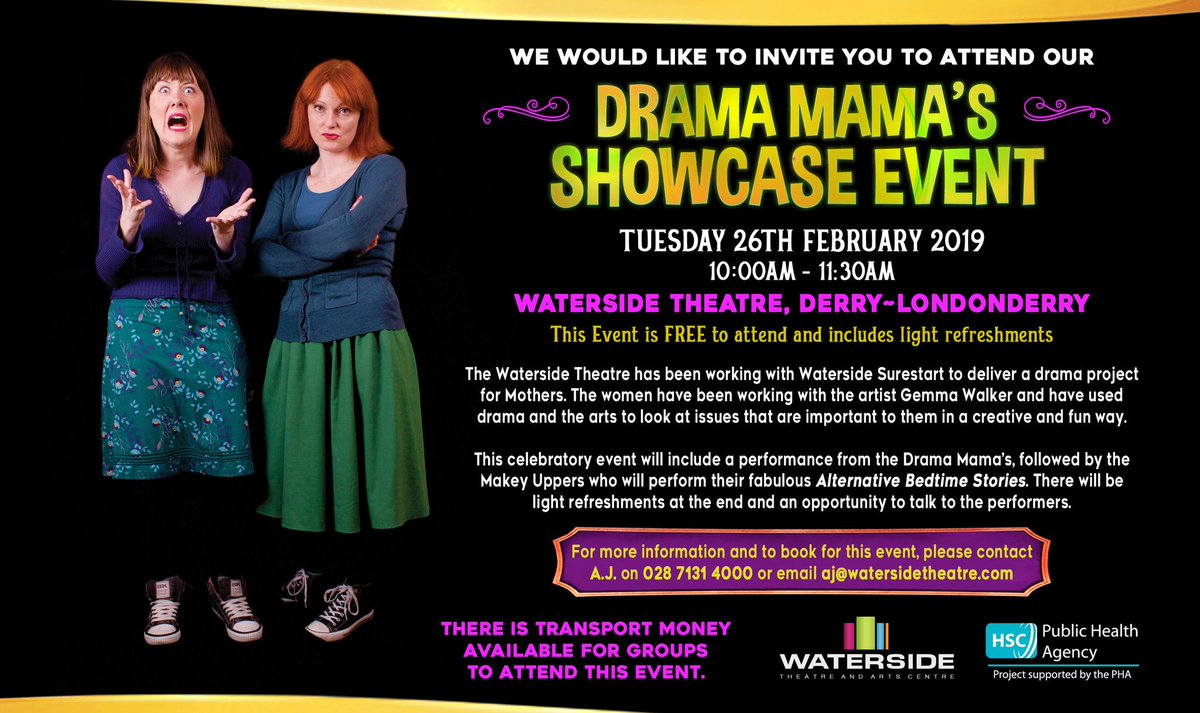 Tomorrow morning. Waterside Theatre. Our critically acclaimed show for FREE! PLUS a sketch from Drama Mamas of Sure Start. @watersidetheatr @Derryvisitor @WomenAloudNI @NW_womens #funnywomen #DerryGirls #Feminism