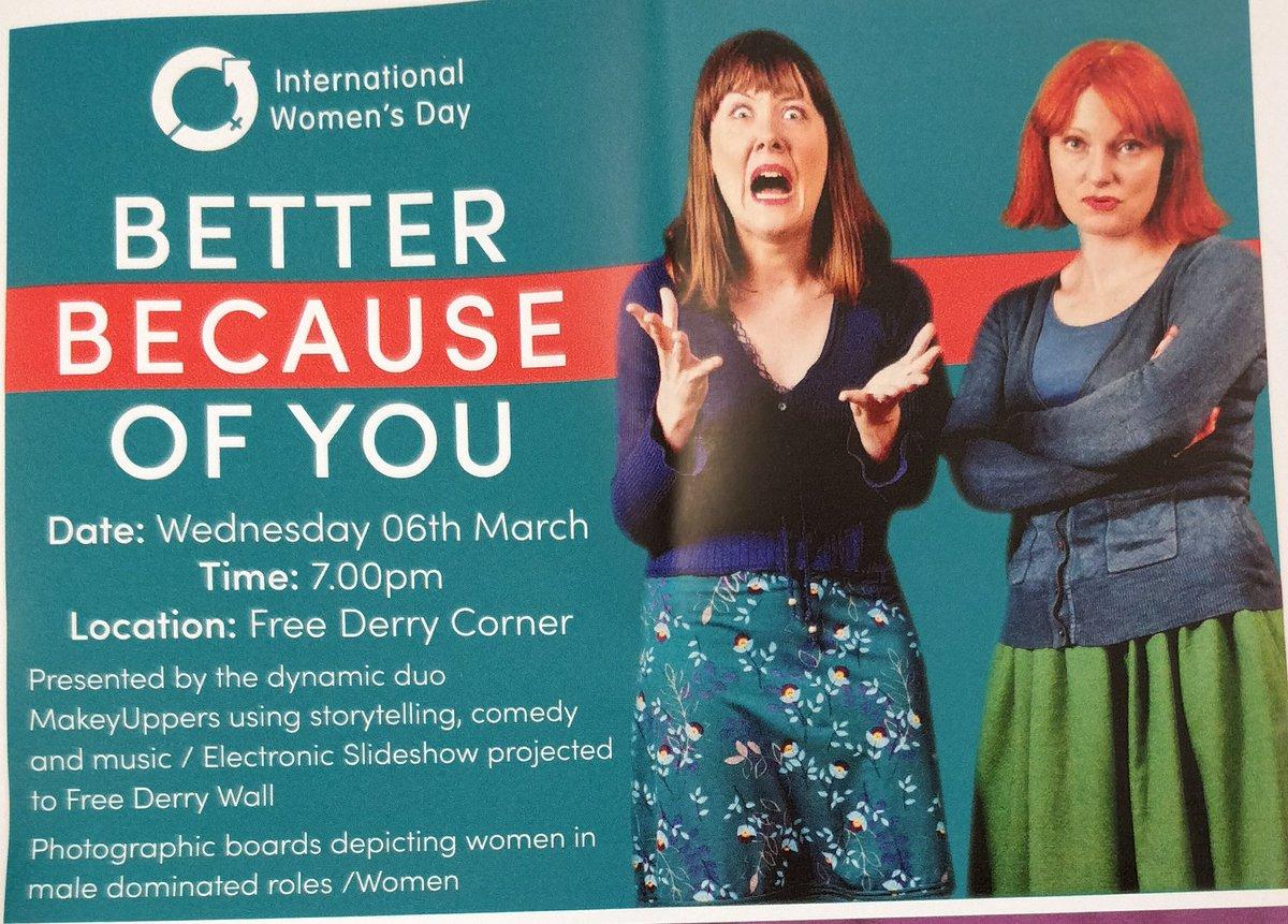 Next Wednesday 6th March. Free Derry Corner. @BluebellArts @intlwd @Derryvisitor @bogsidetours1  #funnywomen #DerryGirls #theOtherDerryGirls #Feminism #comedy