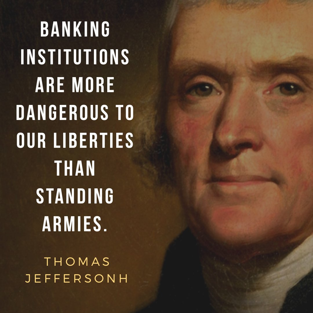Image result for thomas jefferson on banking institutions