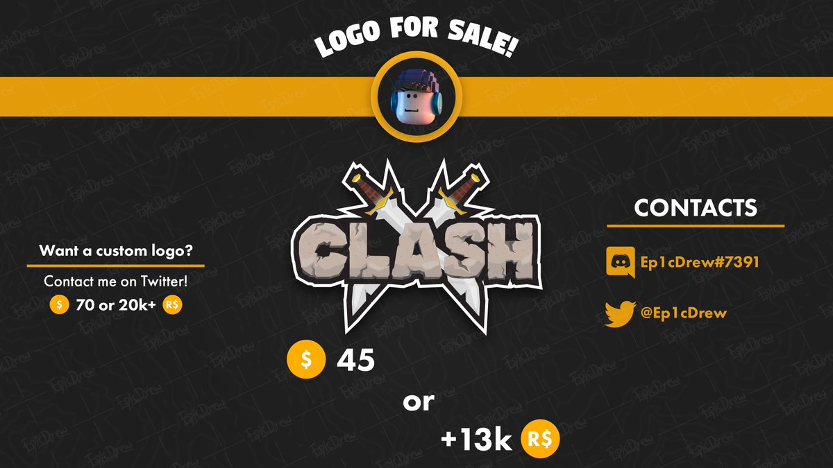 Resist Roblox Game Ep1cdrew On Twitter Got A Game That Has The Name Clash But Has No Logo Look No Further Because I Have An Offer You Can T Resist Game Logo Clash 4 Sale