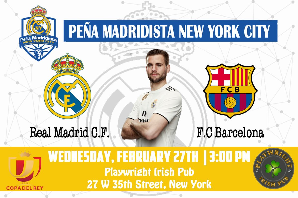 This week's Hump Day means a Copa del Rey Semi-final 2nd leg match vs FC Barcelona... JOIN US to kick off this week's festivities! 3PM @playwright35th #HalaMadridYNadaMas