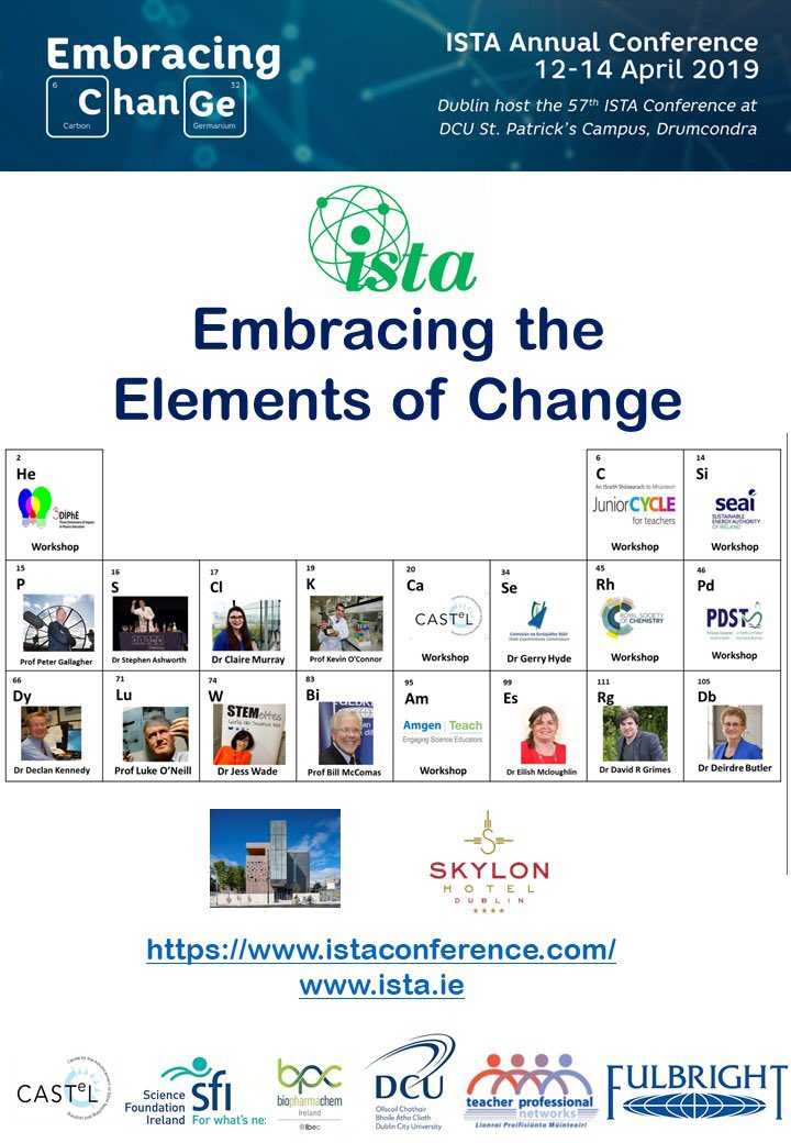 Earlybird registration for the ISTA Annual Conference on http://www.istaconference.com @DCU_IoE @DublinCityUni @Education_Ire @PDSTie @SSEinspectorate @JCTSteAm @scienceirel @PDSTSciences @BioPharmChemIre @CASTeL_DCU @Fulbright_Eire #edchatie