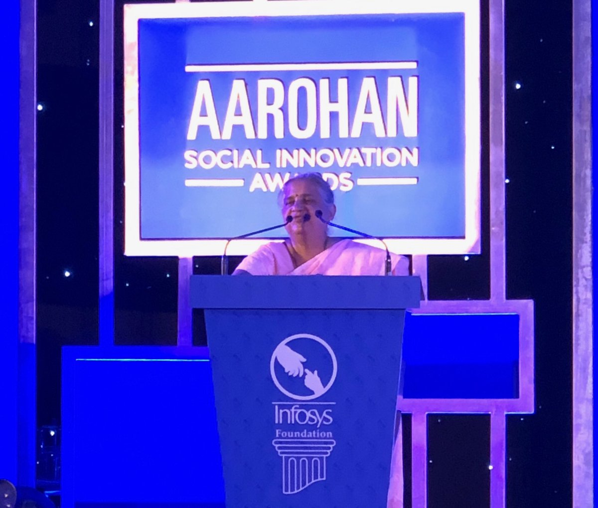 Mrs. Sudha Murty, Chairperson, sharing the story of institutionalising the #Aarohan #SocialInnovation awards during the awards ceremony today.