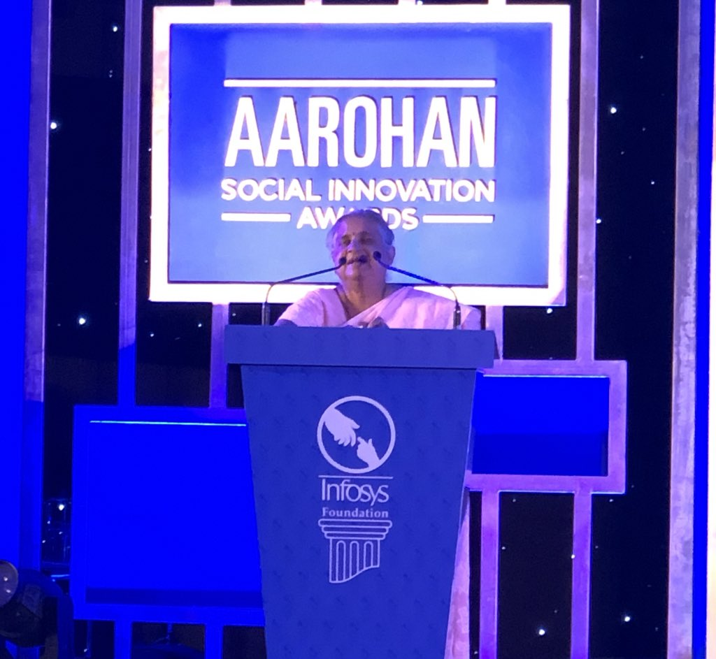 'It takes unreasonable #passion, #courage and #perseverance to create something #new. It's not the award money that has brought you here, it's what you believe in and who you are' - Mrs. Sudha Murty, addressing the participants at #Aarohan #SocialInnovation award ceremony