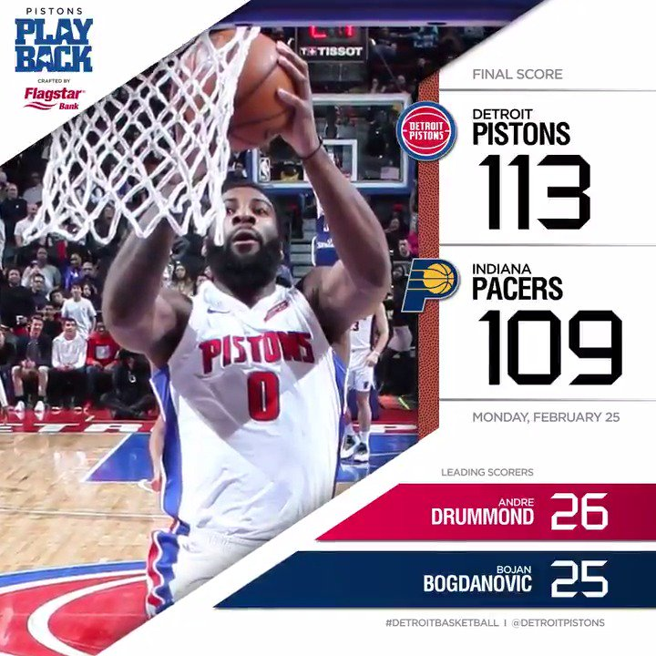 That's 7 of 8! #PlayoffPush   Your #Pistons Playback final crafted by @Flagstar