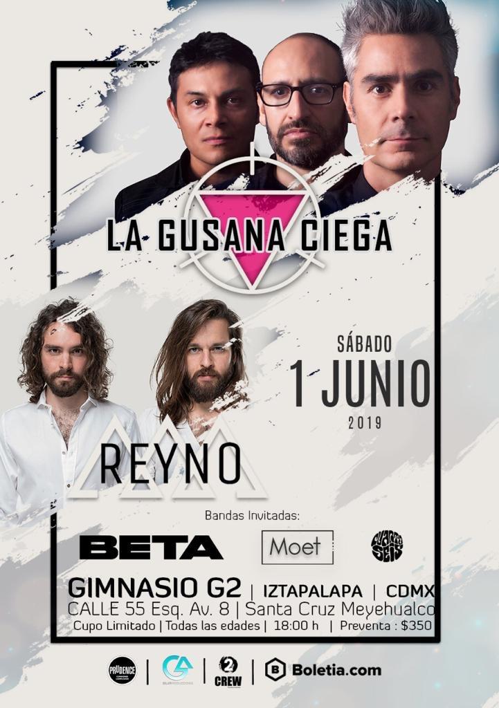"No te pierdas este 1 de Junio a @lagusanaciega con @REYNOmx en ""Gimnasio G2"".  Boletos a la venta en:  https://t.co/6aaeKaqEZd"