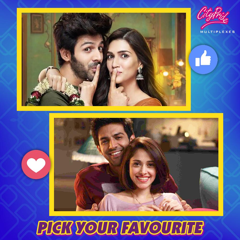 @TheAaryanKartik's acting and his cute looks have made him the heartthrob of the entire nation.  Tell us with whom does he make the better pair on screen? @kritisanon or @NushratBharucha.  #LukaChuppi #PyaarKaPanchnama