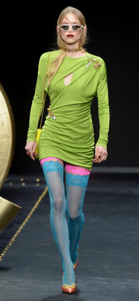 76e9a999fa5 Versace at Milan Fashion Week - Get the look! Buy Coloured Hold Ups from The