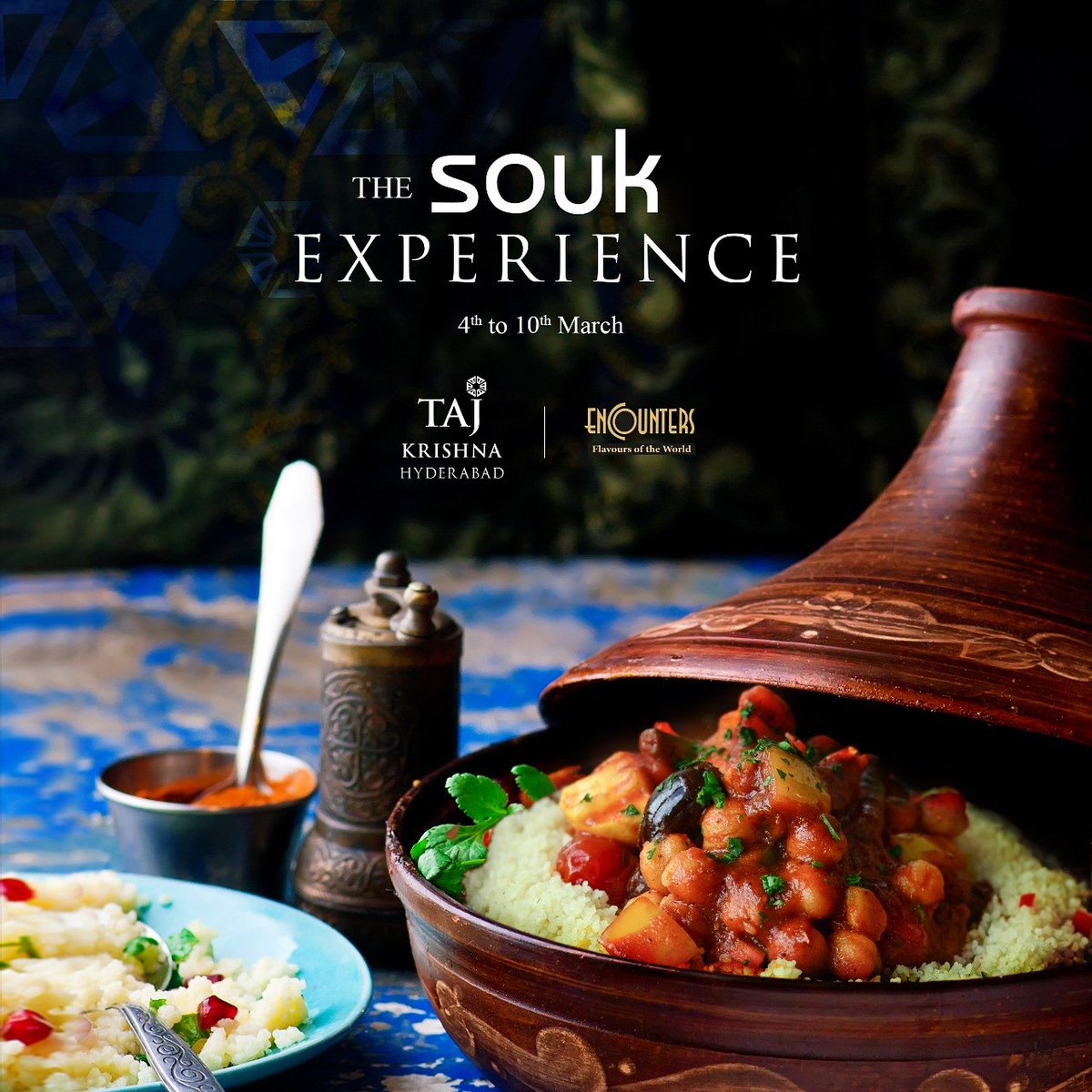 The SOUK experience at @tajkrishnahyd  We are bringing home the rich Eastern Mediterranean experience of the @TajMahalMumbai  4th to 10th March  Encounters For reservations: 040 6629 3326  #TajKrishnaHyderabad #tajkrishnahotel #TajMahalPalace #Souk #TheSoukExperience #encounters