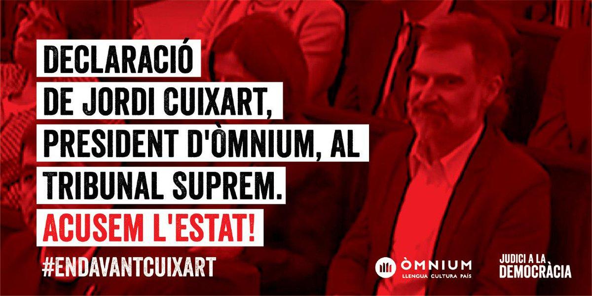 D0UZMDTWsAAjgPG - Declaració del president d'Òmnium Cultural Jordi Cuixart, al Tribunal Suprem. 26 de febrer de 2019. Recollida per Omnium Cultural