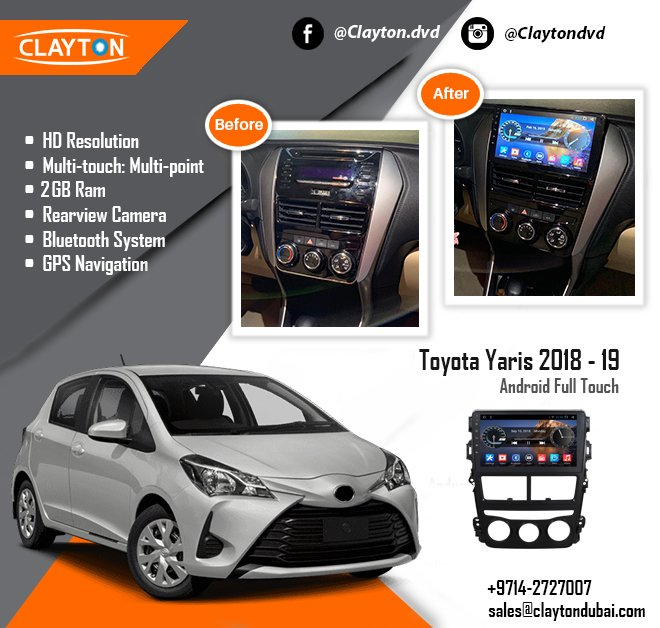 with installation  https://www claytondubai com/toyota-yaris-2018-android-ful ……/ #toyota  #yaris #audio #stereo #installation #before #after #navigation