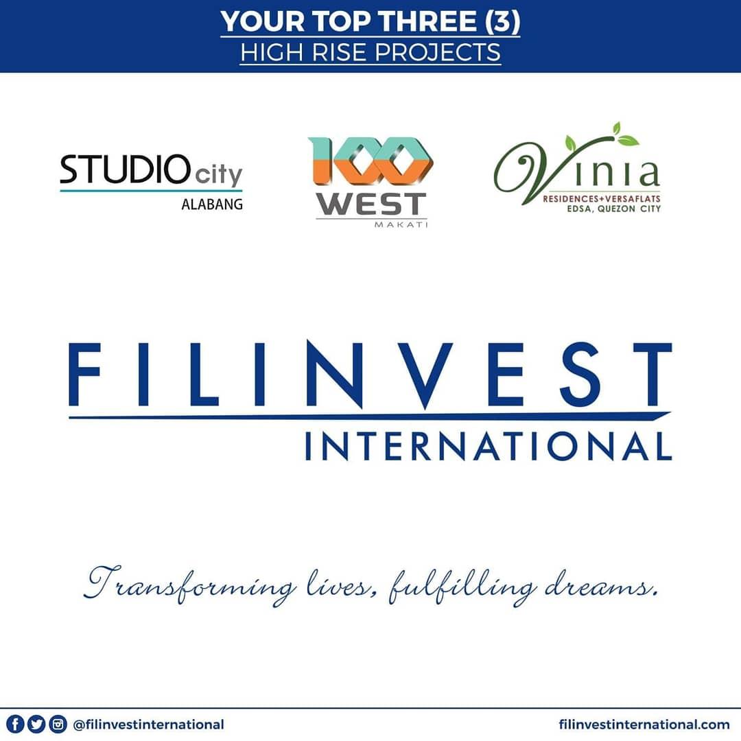 Hi Kabayan, Heto ang top 3 high rise projects ng Filinvest na nangunguna din as investment properties lalo na sa mga OFWs. #StudioCityAlabang #100West #ViniaResidences #FilinvestCity #InvestWisely #FilinvestorInspires #Filinvest #FilinvestInternational #OFW #Investment https://t.co/64A2Jv9mtH