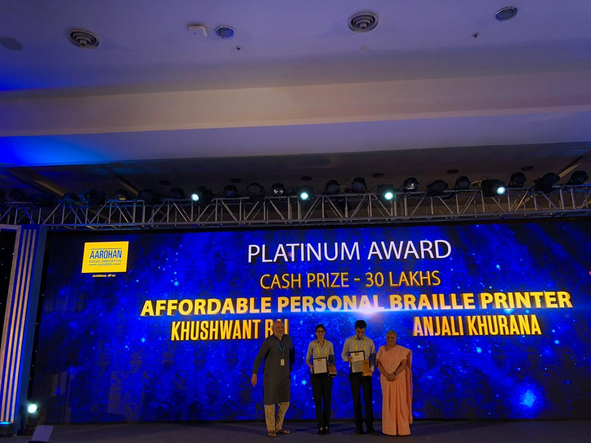 Prashant Gade's low-cost myo-electric prosthetic arm and Khushwant Rai & Anjali Khurana's affordable personal braille printer, were given the Platinum awards at #Aarohan #SocialInnovation ceremony. They're eligible for 8-week mentorship @IITHyderabad & prize money of INR 30 Lakhs
