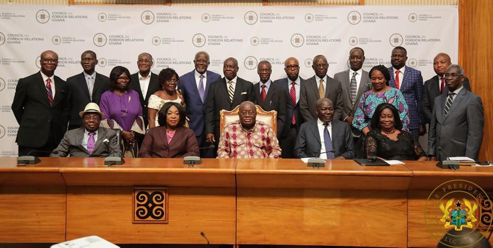 This morning, I inaugurated the Council on Foreign Relations, Ghana, a think tank composed of a diverse group of retired diplomats, experienced lawyers, and media experts. The establishment of the Council is intended to enhance the advancement of Ghana's foreign policy.