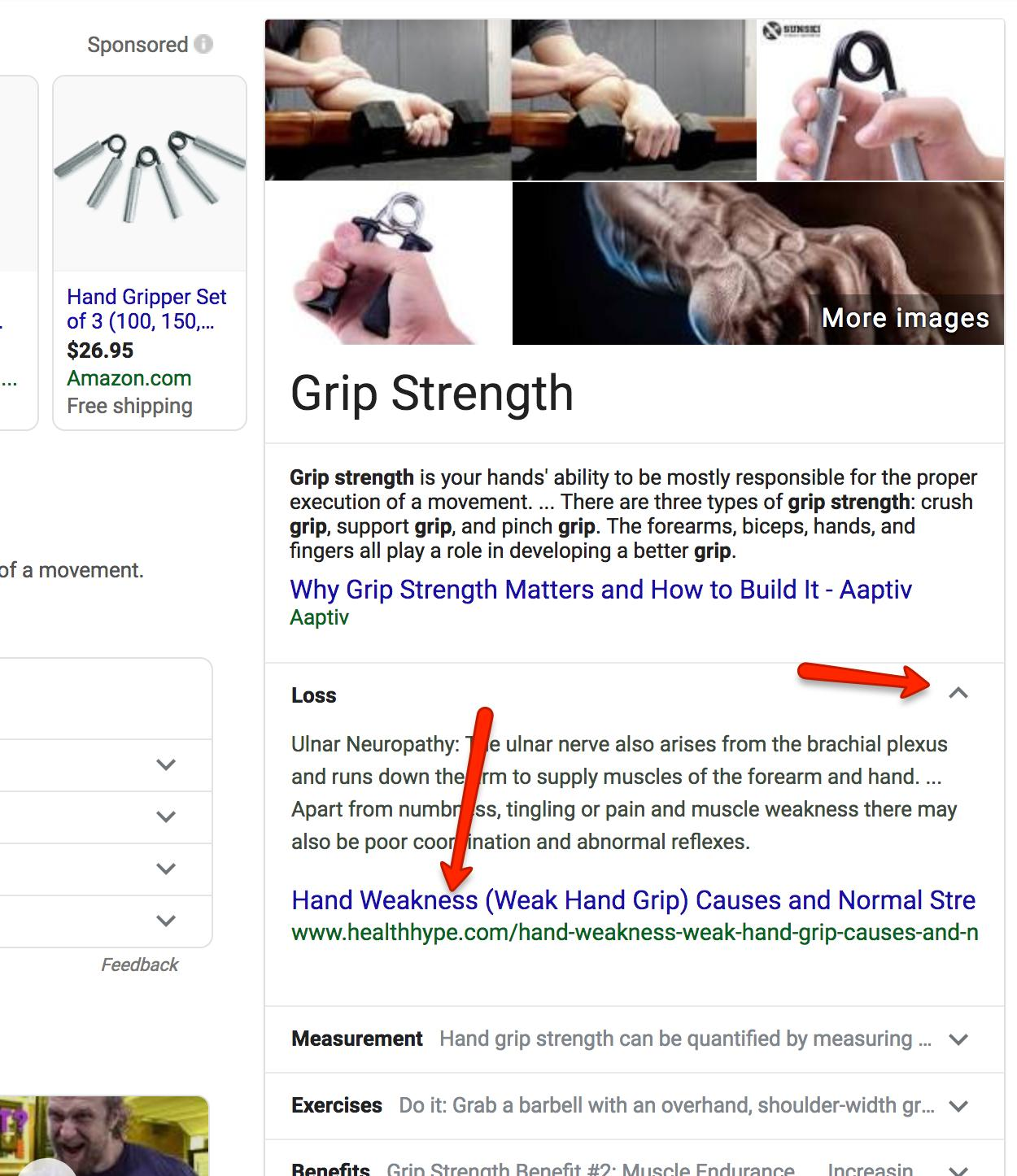 Screenshot of expandable featured snippet