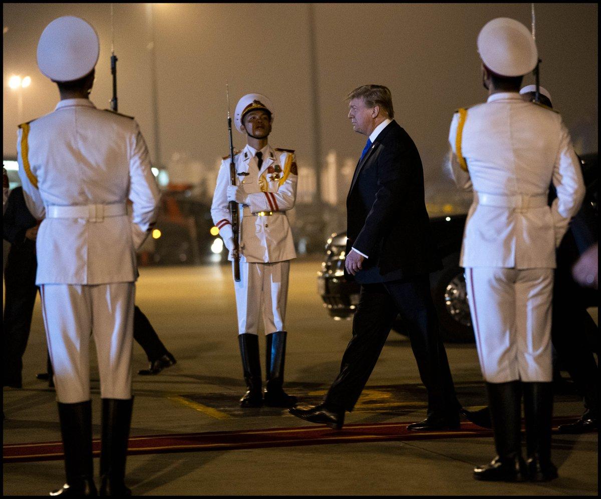 .@realDonaldTrump arrives at the Noi Bai International Airport in Hanoi, Vietnam.