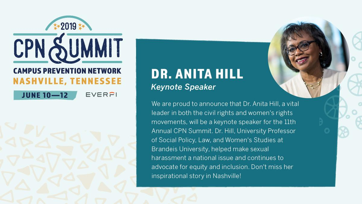 We're honored to introduce civil & women's rights leader and Brandeis University professor Anita Hill as the keynote speaker for our 2019 Campus Prevention Network Summit occurring June 10-12 in Nashville, TN. #CPN2019  Register Today: https://bit.ly/2EwrcBR