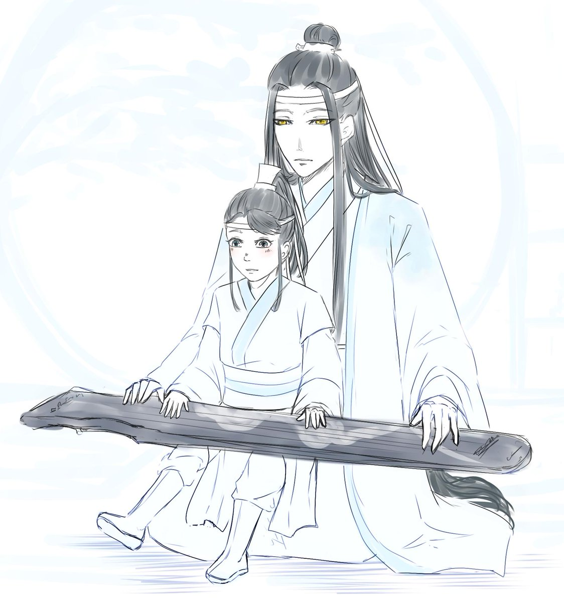 I promised to sketch something so here's dad Lan Zhan and his small son Sizhui (;~;)♥ #modaozushi #魔道祖师