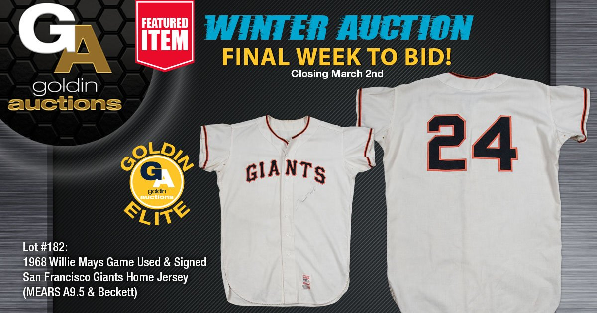 This classic @SFGiants Wilson home flannel jersey was game worn by @baseballhall #WillieMays during the 1968 @MLB season. Mays signed the front left chest in black marker. A9.5 LOA from Mears for game use and a LOA from @Steve_Grad of @beckett_authent for Mays' signature.