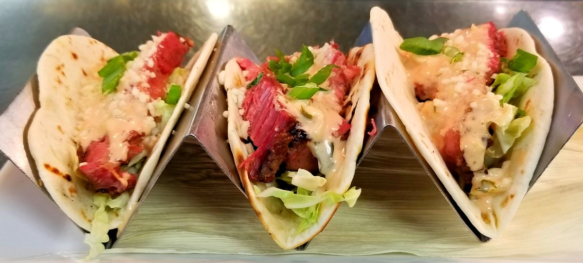 Happy #TacoTuesday! Drop in today for our $3 special taco: Beef brisket with napa cabbage, cotija cheese, thousand island dressing, and scallions!