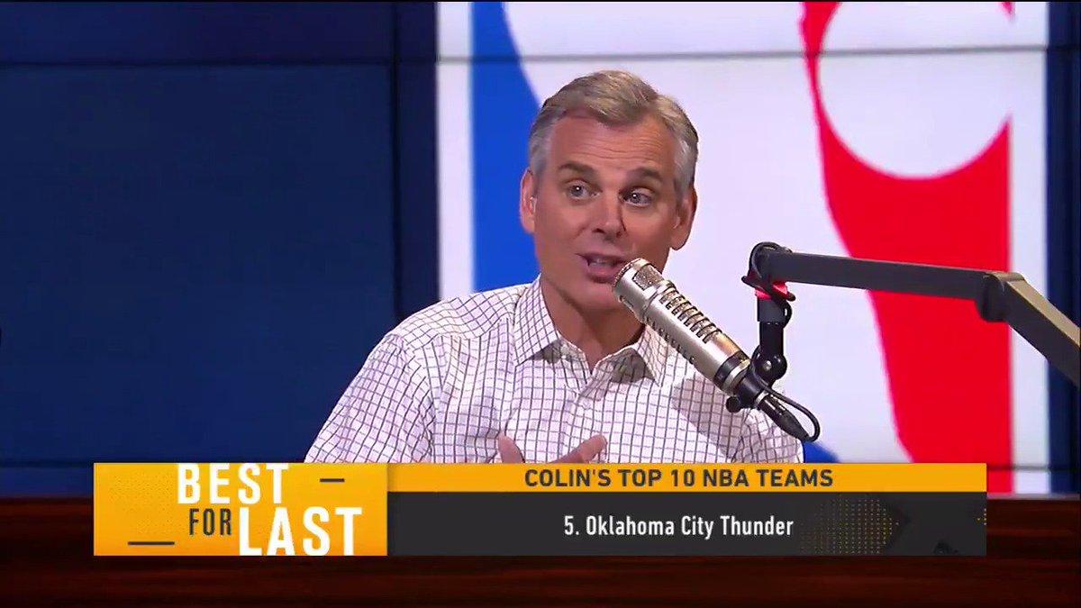 1. Warriors 2. Rockets 3. Celtics  4. Bucks 5. Thunder  @ColinCowherd ranks his Top 10 NBA teams