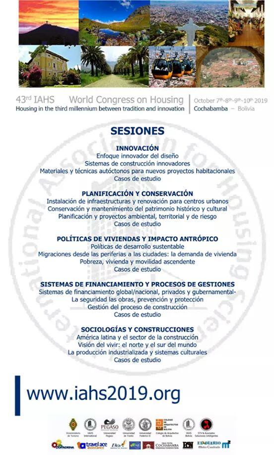 """43º Congreso Mundial IAHS. """"La vivienda en el tercer milenio entre tradición e innovación""""  ¿Cuándo? 7 - 10 de Octubre de 2019  ¿Dónde? Cochabamba, Bolivia.  Más información:  https://t.co/FyKIg4HUaO  #NovedadesBolivianistas Más novedades y noticias en: https://t.co/Iq0u7siZr7 https://t.co/pCXWcbRxMi"""