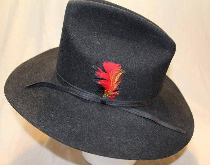 32f67f54f3444 Vintage Shepler s Dynafelt Black Fur Felt Western Men s Cowboy Hat Size 7  1 8 57cm