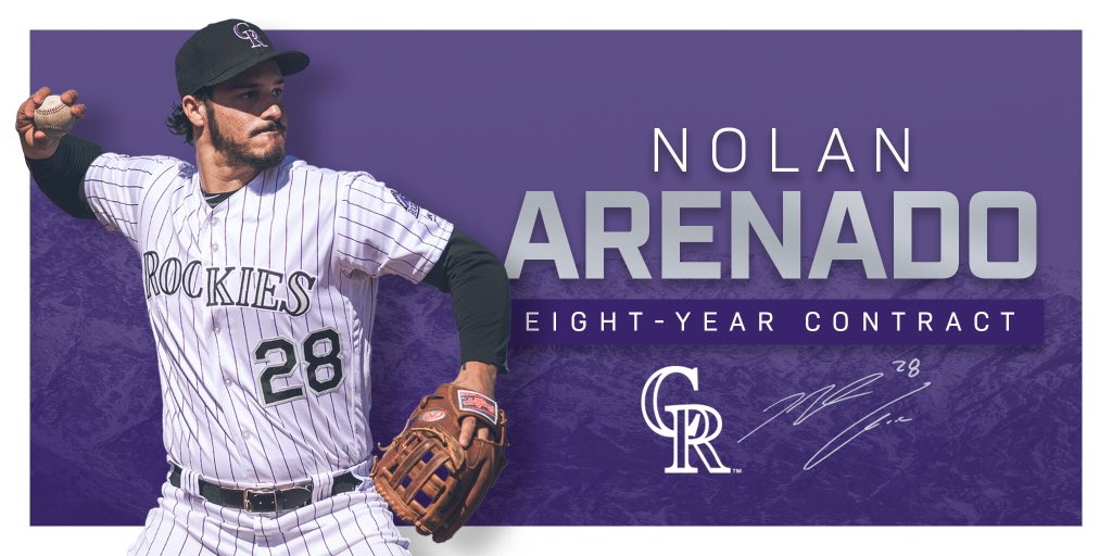 NOW IT'S OFFICIAL!   We have agreed to terms with Nolan Arenado on an eight-year contract that could keep him with the club through the 2026 season.