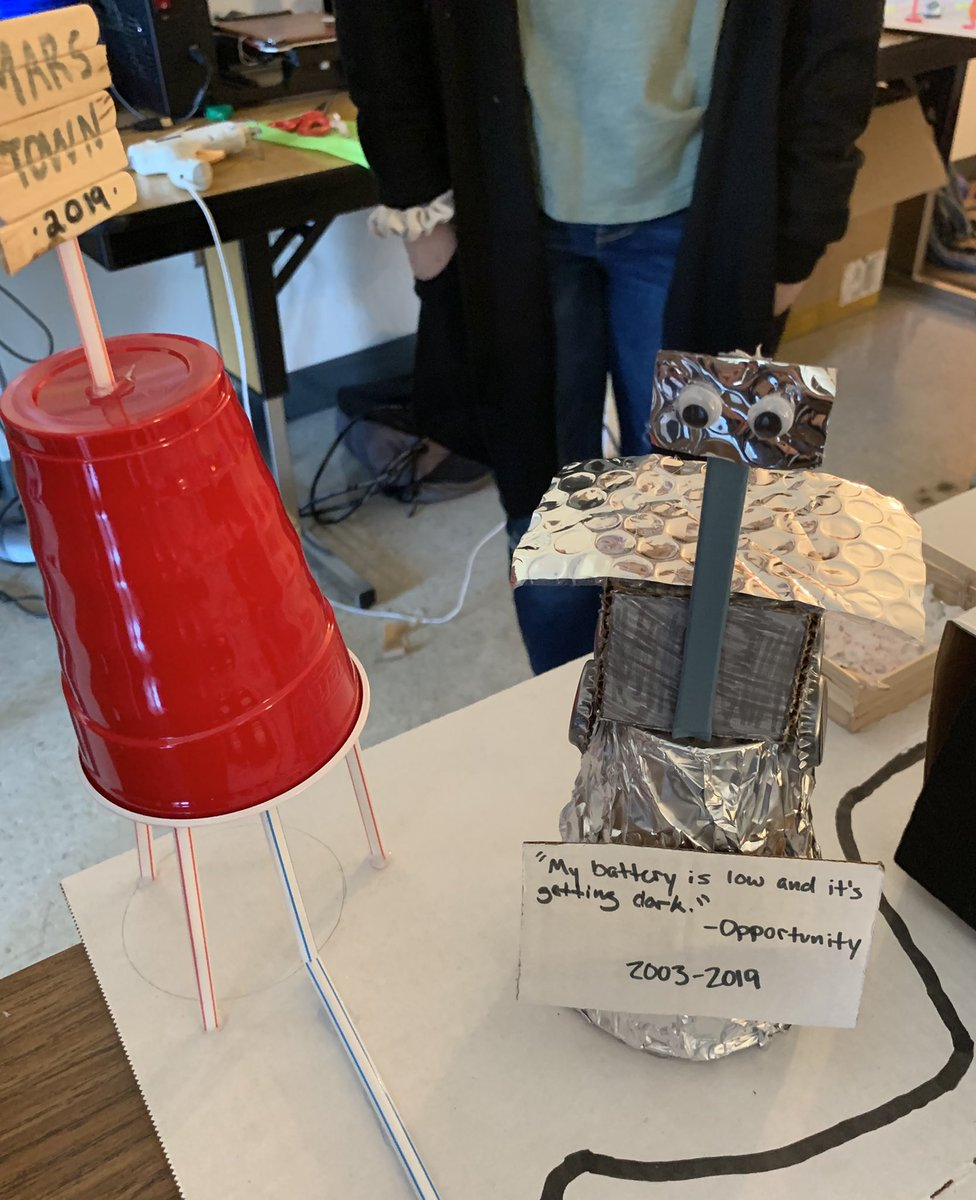 When your students are designing Martian colonies and they know how sad you were about the #opportunity rover so THEY INCLUDE AN OPPY MEMORIAL in their city ❤️❤️😍@CMSCardinals